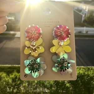 NWT Zara Colorful Iridescent Floral Earrings